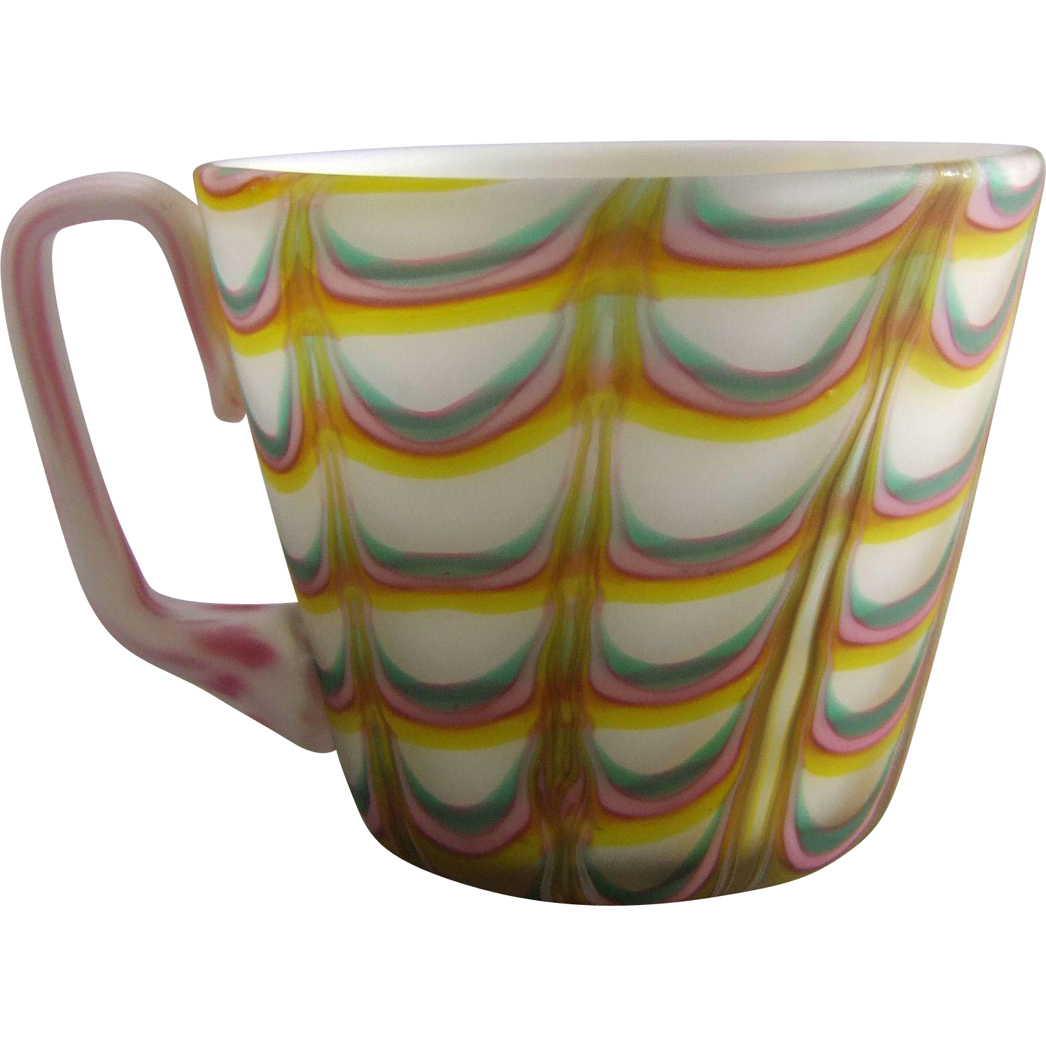 Acid Finished Satin Glass Cup with Pulled Loop Decoration
