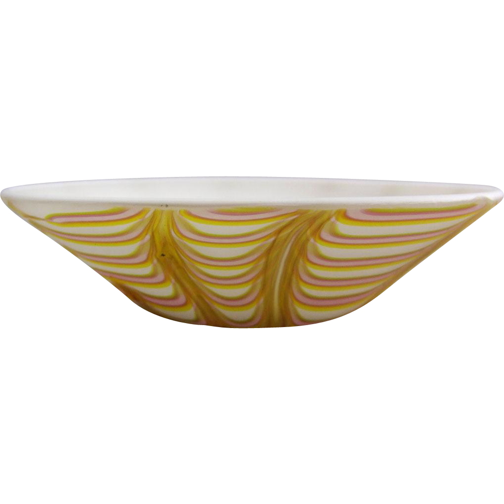 Acid Finished Satin Glass Bowl with Pulled Loop Decoration