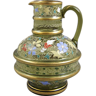 Moser Bohemian Glass Decorated Pitcher Jug