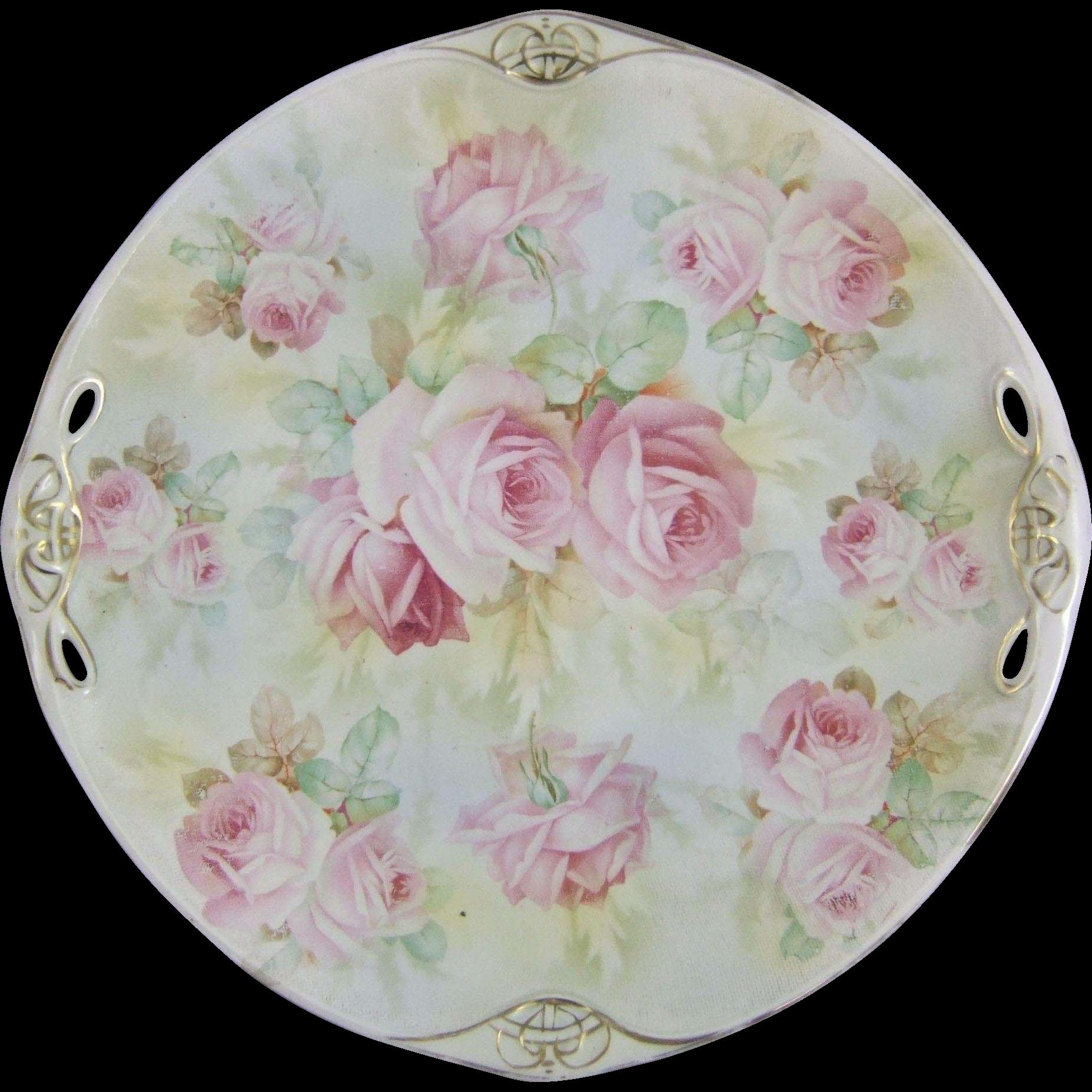 royal bayreuth rose tapestry porcelain dessert cake serving plate green country estates. Black Bedroom Furniture Sets. Home Design Ideas