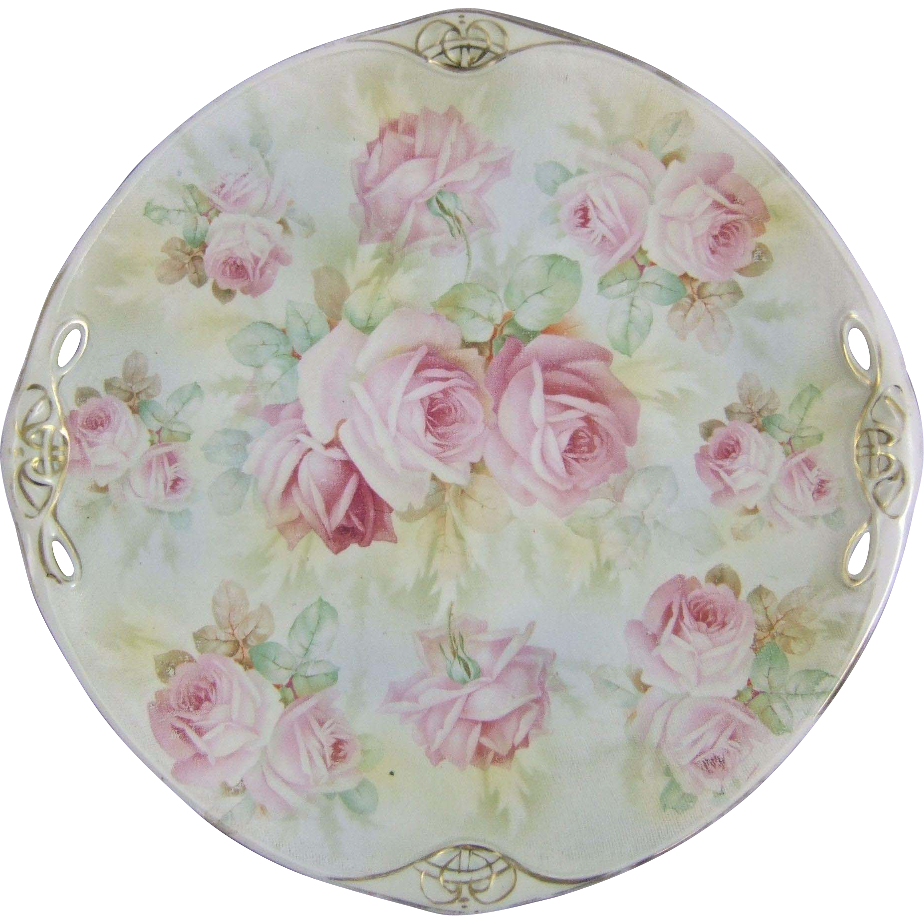 Royal Bayreuth Rose Tapestry Porcelain Dessert Cake Serving Plate