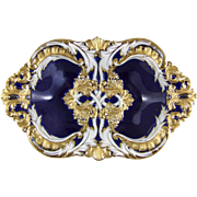 Meissen Porcelain Royal Blue & Gold Enamel Leuteritz Bowl