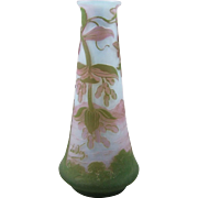 DeVez Aid Cut French Cameo Glass Vase Scenic Castle
