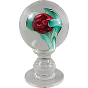 Vintage Murano Glass Tulip Bloom Pedestal Crystal Encasement Paperweight