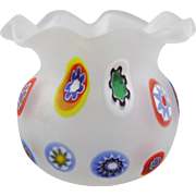 Murano Italy Millefiori Satin Blown Art Glass Toothpick Holder