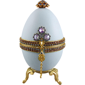 Rhinestone Jewel Decorated Egg Jewelry Casket Hinged Dresser Box
