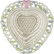 Belleek Parian Woven Porcelain Limited Edition Love Heart Basket 3467
