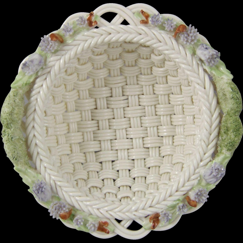 Belleek Woven Porcelain Thistle Basket H40641
