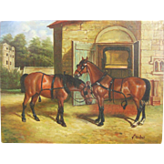 Horses in a Stable Yard Oil Painting on Panel