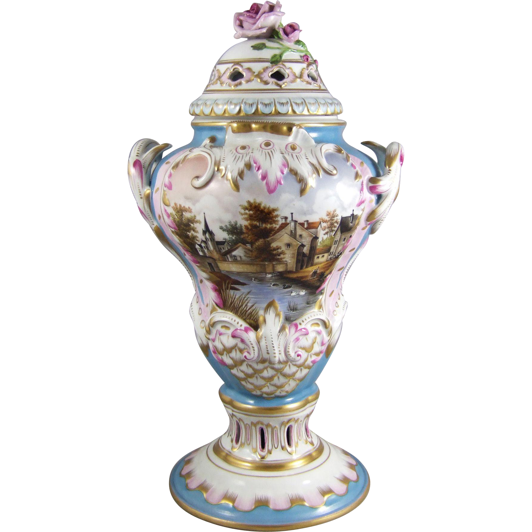 Herend  Hungary Hand Painted Porcelain Potpourri Urn