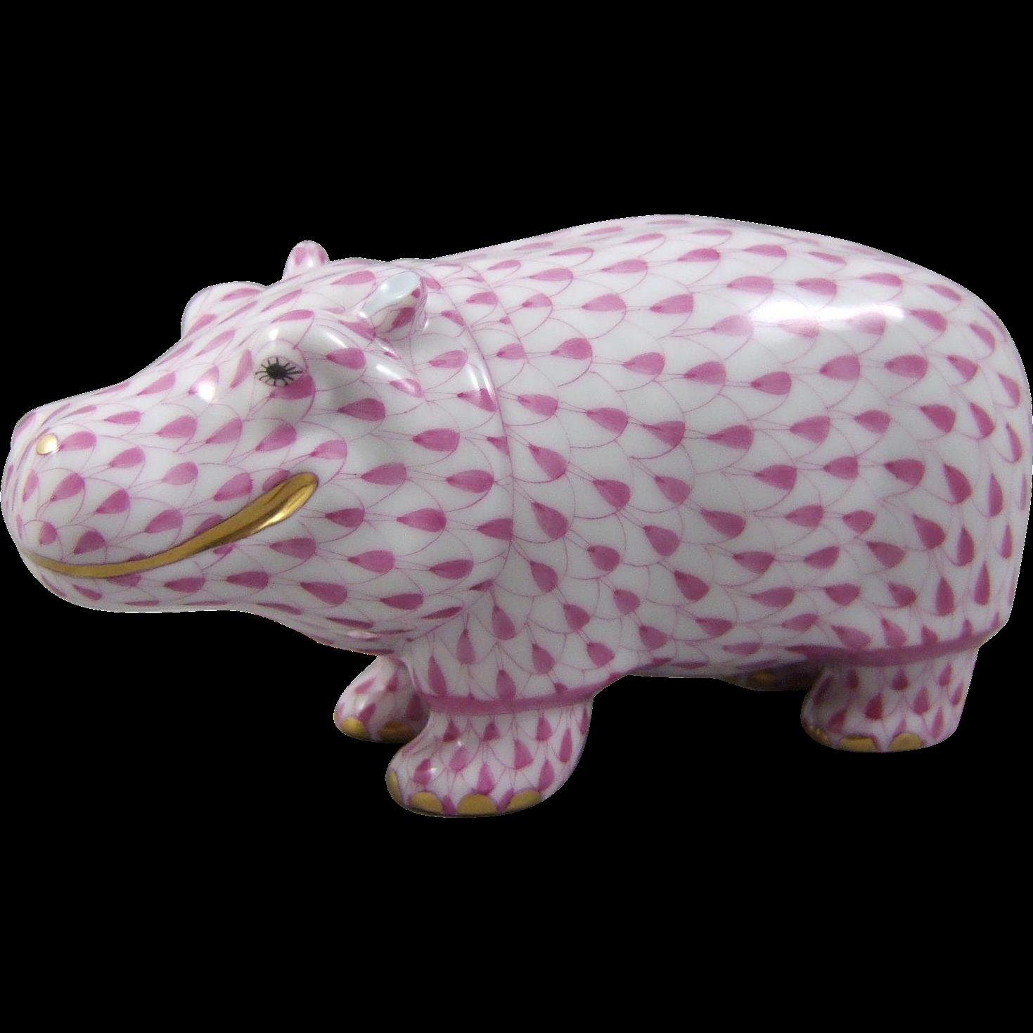 Herend Porcelain Pink Hippo Hippopotamus