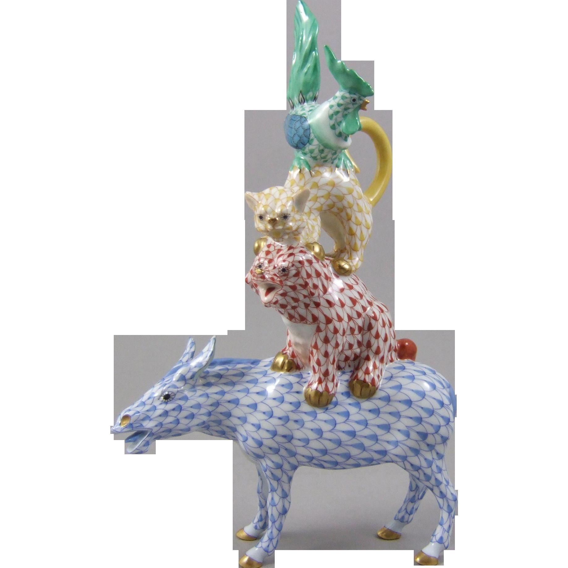 Herend Porcelain Musicians of Bremen Animal Figural Group