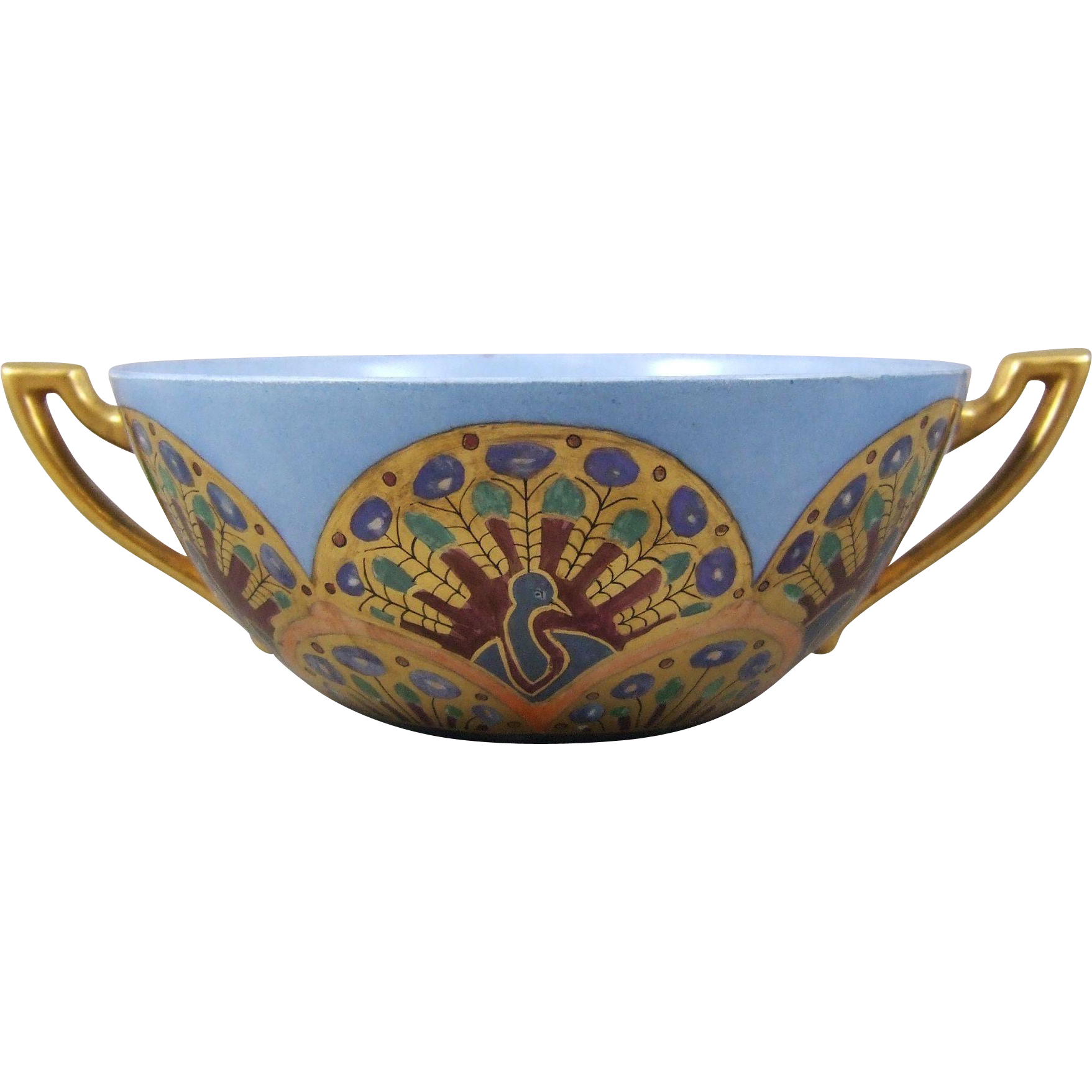 Hand Painted Limoges Porcelain Peacock Bowl B&Co.  Bernardaud & Co. Circa 1900