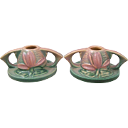 Roseville Art Pottery 1154-2 Water Lily Candle Holders
