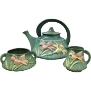 Roseville Pottery Zephyr Lily 3 Part Tea Set