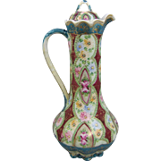 """Antique Nippon Porcelain 12"""" Tall Lidded Ewer or Chocolate Pot"""