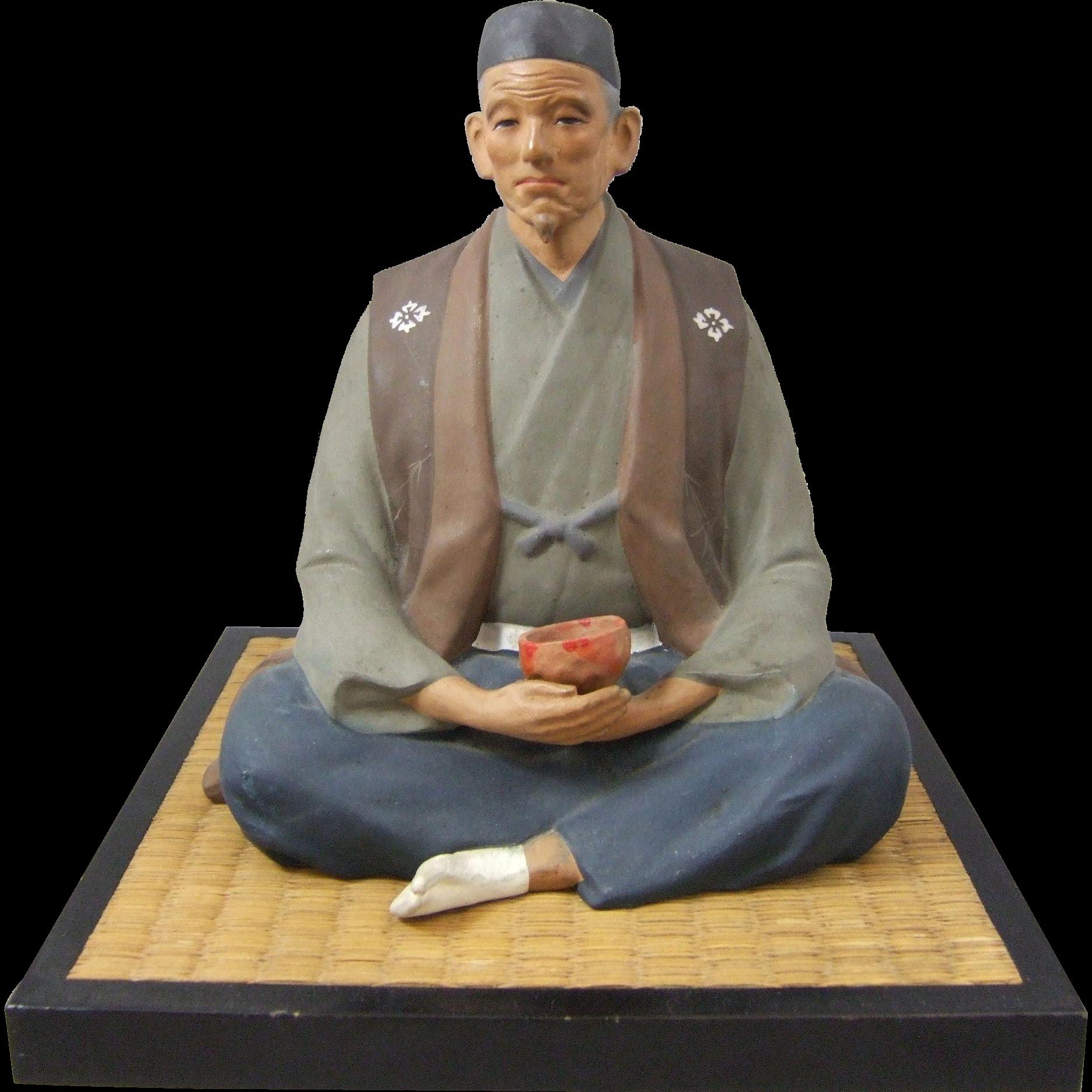 Hakata Urasaki Japanese Figure of a Sitting Man