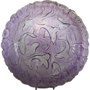 Phoenix Consolidated Amethyst Glass Martele #2585 Center Bowl Koi Fish