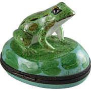 Limoges Porcelain Box -  Frog on Lilypad