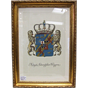 Antique Engraving Royal Coat of Arms of Sweden