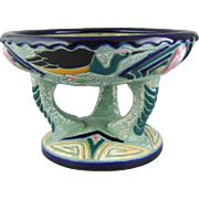 Art Deco Ceramic Czech Amphora Pottery Pedestal Bowl with Enamel Herons