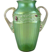 Bohemian Iridescent Art Glass Handled Vase with Applied Decoration
