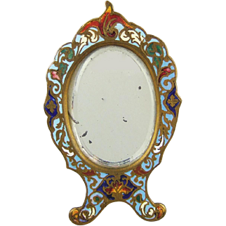 Antique Gilt Bronze & French Enamel Champlevé Easel Vanity Mirror