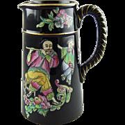 Dudson Jackfield Glaze Jet Ware Chinoiserie English Ceramic Jug