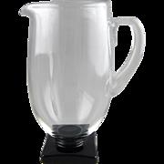 Art Deco Glass Fostoria 4020 Black Base Pitcher by George Sakier