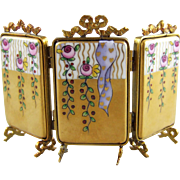 Rochard Limoges Miniature Porcelain and Gilt Metal 3 Panel Screen