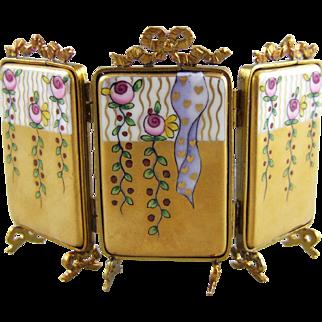 Rochard Limoges Miniature Porcelain and Gilt Metal 3 Panel Screen
