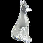 Baccarat Crystal France Doberman Pinscher Dog Glass Sculpture