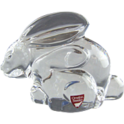 Orrefors Crystal Sweden Bunny Rabbit Mother & Baby Olle Alberius Designer
