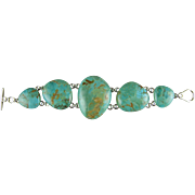 Barse Sterling Silver 925 Turquoise 5 Stone Bracelet