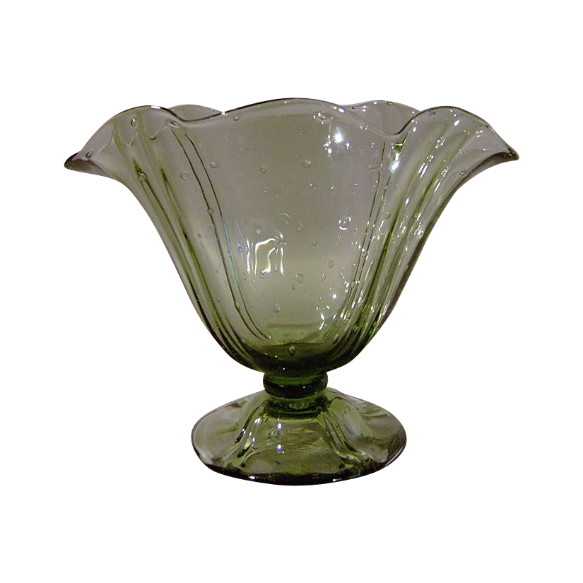 Steuben Two Line Pillar Vase in Spanish Green Random Bubble 7307