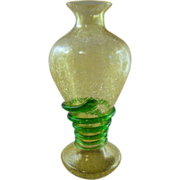 Crackle Glass Vase with Vaseline Uranium Glass Green Serpent