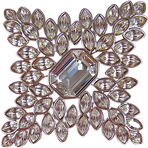 KJL Kenneth Jay Lane Navette Rhinestone Maltese Cross Brooch