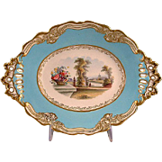 Mid-Victorian Chamberlain Worcester  Lozenge Form Scenic Porcelain Dessert Stand
