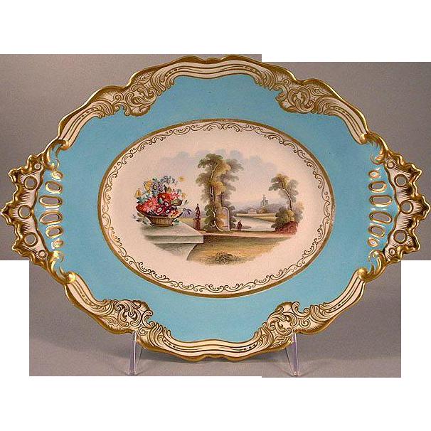 Mid-Victorian Chamberlain Worcester  Lozenge Form Scenic Porcelain Dessert Stand