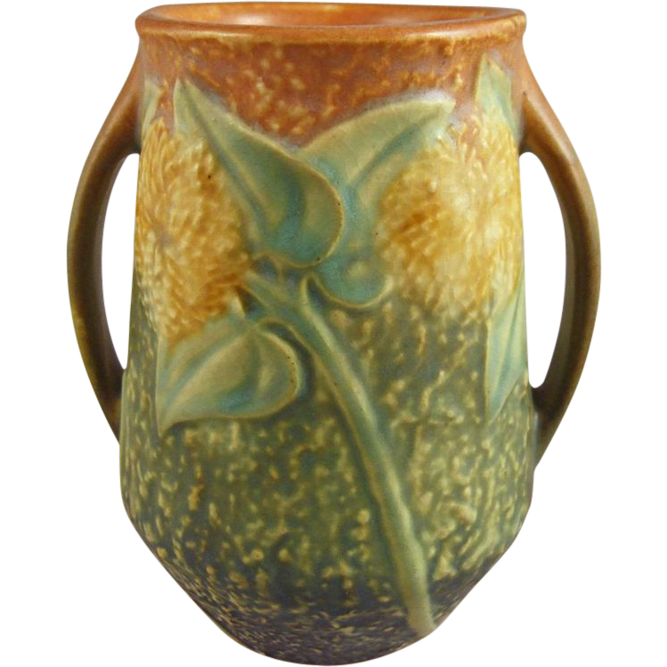 Roseville Sunflower Handled Vase with Original Black Label Circa 1930