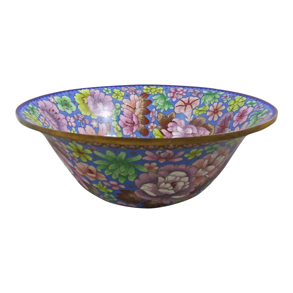 "Large Cloisonne Enamel Bowl Over 15.5"" Diameter"