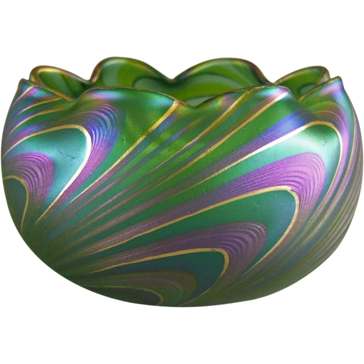 Austrian Bohemian Art Glass Pulled Wave Pattern Bowl