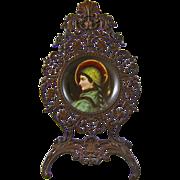 Hand Painted Porcelain Portrait Plaque of a Medieval Renaissance Lady