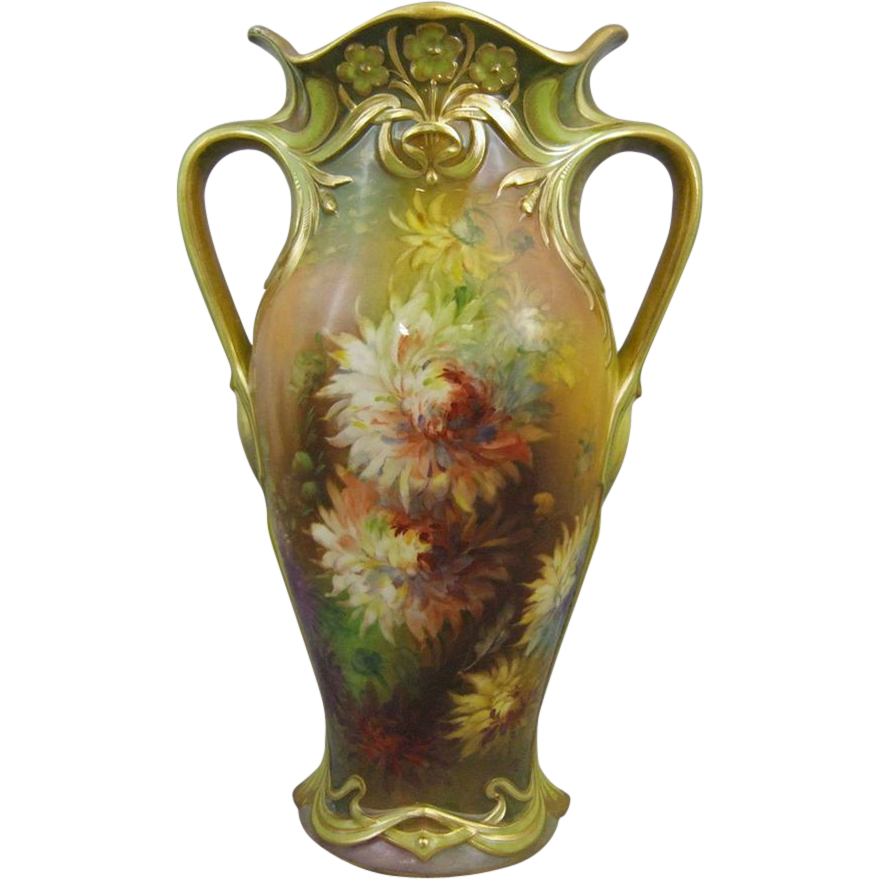 Royal Bonn Art Nouveau Hand Painted Vase M. Dirkmann