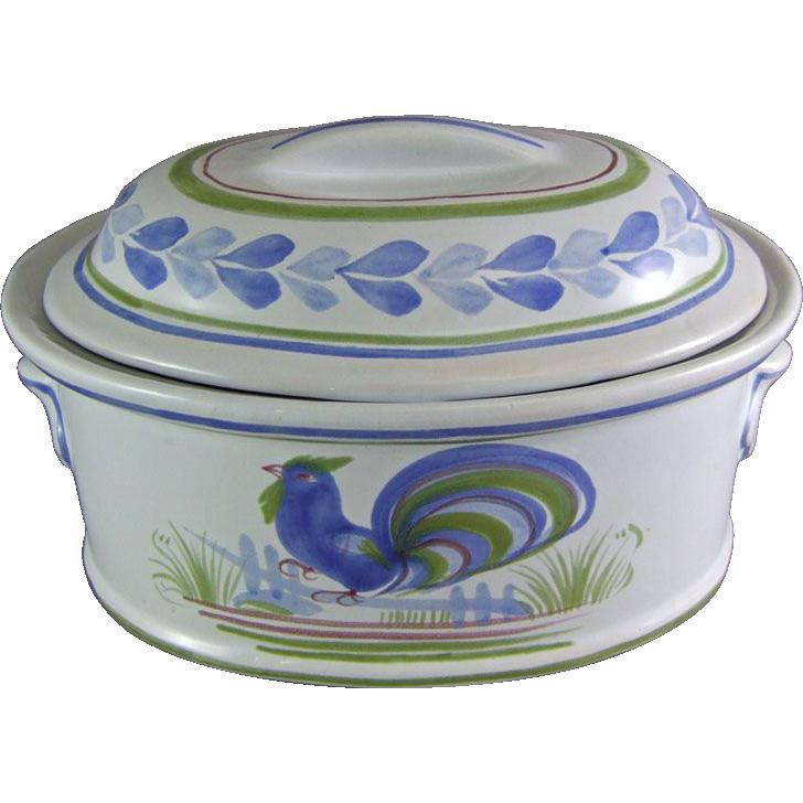 Henriot Quimper Cordon Bleu Coq Casserole Dish and Cover Faienceries de Quimper