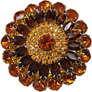Massive Multi-Layer Multi-Color Vintage Jewelry Rhinestone Brooch