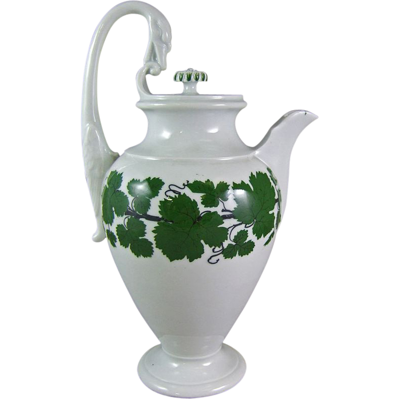 Meissen Full Green Vine Wreath Coffee Chocolate Pot with Swan Handle