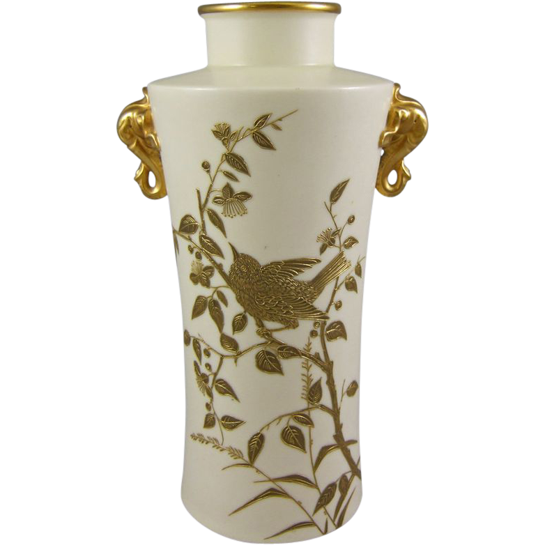 Royal Worcester Circa 1901 Chinese Style Blush Ivory Vase with Elephant Handles