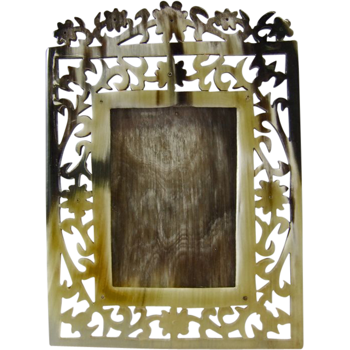 Natural Horn Reticulated Carved Photo Frame