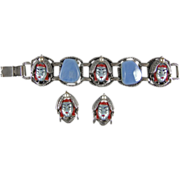 Selro Selini Asian Face Demi Parure Pearlized Blue Moonstone Variation